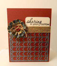 Handmade Sympathy Card in Maroon Cream Blue & Burlap by pattitudes, $3.25