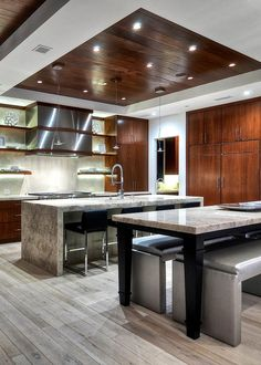 Modern Kitchen Lights Decorative Accessories White With Feature Wood Ceiling Detail Above Island Sleek And Home In Corona Del Mar