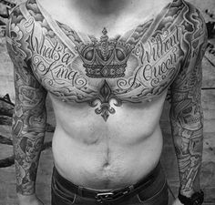 Man With Impressive Crown Tattoo And Wordings Chest
