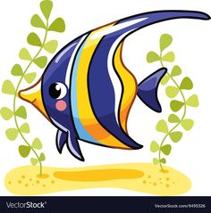 Cute fish zanclus in vector illustration. Tropical reef fish isolated on white background. Fish Drawings, Cartoon Drawings, Animal Drawings, Cute Drawings, Fish Drawing For Kids, Art Drawings For Kids, Fish Clipart, Cartoon Fish, Cute Fish