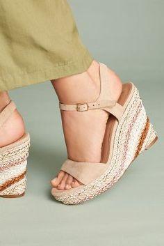 2dedbbed31b8 Striped Platform Wedge Sandals