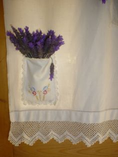 Vintage lace curtain with lavender pocket - great way to scent a room!