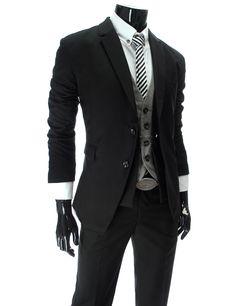 Black business slim fit suit.