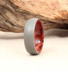 Titanium Lined with Redwood Burl Wood Ring by WedgewoodRings, $205.00
