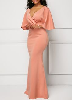 Wrap V Neck Pink Half Sleeve Mermaid Dress African Maxi Dresses, Latest African Fashion Dresses, African Dresses For Women, Women's Fashion Dresses, Dress Outfits, Ankara Dress Styles, Chic Outfits, Elegant Dresses, Sexy Dresses