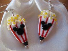 Popcorn Earrings, Handmade Lampwork Beads, Mickey Popcorn Earrings, Disney…