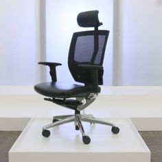 Arris High Back Mesh Ergonomic Chair with Leather Seat // Arris
