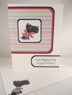 "Stampin Up ""Hot Diggity Dog"" Handmade Scottish Terrier Birthday Card #Handmade #BirthdayAdult"