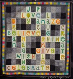 """""""words"""" scrabble quilt by sarah michael (quilted by helia ricciat), at the 2015 world quilt show, on the quilt inspiration blog"""