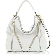 Rebecca Minkoff Designer Handbags White Leather Moto Hobo ($380) ❤ liked on Polyvore featuring bags, handbags, shoulder bags, white leather handbags, leather shoulder bag, leather purse, leather man bag and leather hobo purse