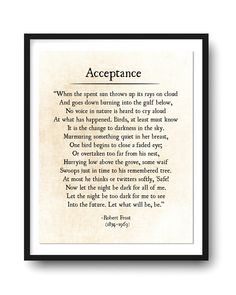 Acceptance Poetry Art Print Robert Frost Poem Literary Gift | Etsy