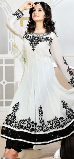 Snazziest white and black anarkali: KSL2490