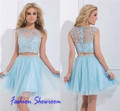 Capped Sleeves Homecoming Dresses A Line Crystal Beaded Two Piece Graduation Gown Cheap Scoop Tulle