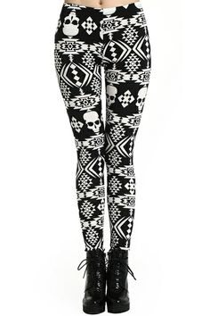 Geometric Pattern Skinny Leggings. Description Leggings, crafted from elastic fabric, featuring geometric pattern and skull print design, a stretchy waist, and all in a soft-touch stretch fit. Fabric Polyester,Spandex. Washing Cool Hand Wash. #Romwe