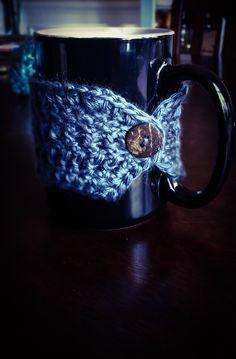Soft Blue MugHug, Coffee Cozy, Travel Cup Cozy, Cup Sleeve, Tea Cozy, Travel Mug, Coffee Cup, Mug Cozy by CharmedinLove on Etsy