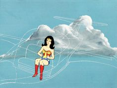 Wonder Woman in her invisible jet on Super Friends