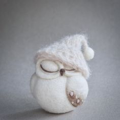 needle felted OWL SCULPTURE cute sleeping owl owl by TheLadyMoth
