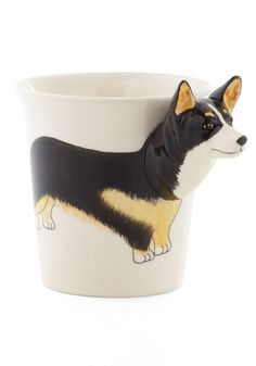 Yappy Hour Mug - Brown, White, Print with Animals, Work, Quirky  @Meredith West