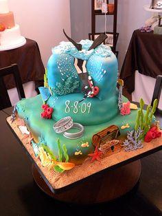 scuba cake party-cakes-cupcakes-and-cookies Ocean Cakes, Beach Cakes, Unique Cakes, Creative Cakes, Fancy Cakes, Cute Cakes, Fondant Cakes, Cupcake Cakes, Mini Cakes