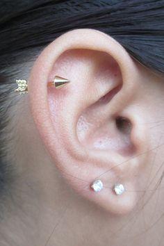 Cute Cool Gold Arrow Cartilage Helix Ear Piercing Ideas for Women - Unique Ideas . - Cute Cool Gold Arrow Cartilage Helix Ear Piercing Ideas for Women – Unique ideas for piercing ear - Fake Piercing, Helix Piercing Jewelry, Helix Earrings, Bar Stud Earrings, Cartilage Earrings, Tragus, Crystal Earrings, Smiley Piercing, Ruby Earrings