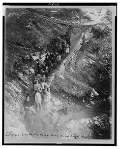 Theodore Roosevelt leading a group down Bright Angel Trail, Grand Canyon