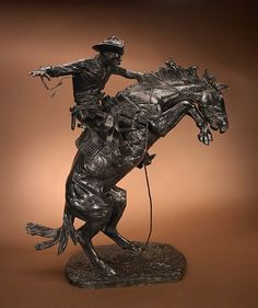 Frederic Remington (1861–1909), Bronco Buster, bronze #16, 33 in, JHAA 2011 Sold: $488,750. #bronze #sculpture #western #horse #art #cowboy