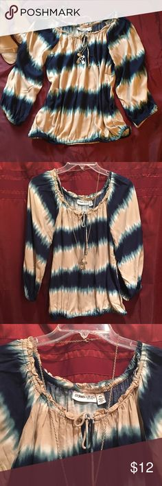 St John's Bay long sleeve tunic Tie dye type blouse. Colors are beige, navy blue, turquoise and white. Elastic at all openings. 💯 viscone, machine wash. Very cute top!! No rips/no stains, in great condition. Smoke free home. Thank you for stopping by..🙋🏻🤗 St John's Bay Tops Tees - Long Sleeve