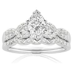 0.90 Ct Marquise Shaped Diamond Wedding Rings Pave-Set