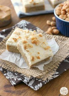Frosted Maple Peanut Butter Bars from @akitchenaddict