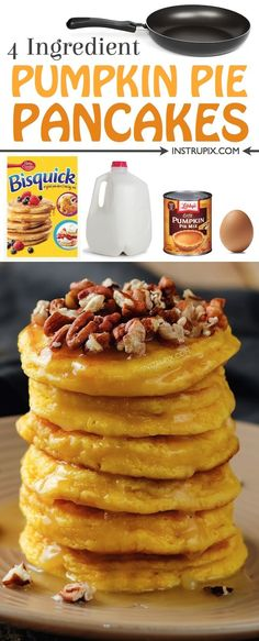 ) Easy pumpkin pie pancakes made with just 4 ingredients! These pumpkin spice pancakes are AMAZING! Made with bisquick, pumpkin pie filing, milk and an egg. The perfect fall breakfast idea! Easy pumpkin pie pancakes made Pumpkin Pancakes Easy, Easy Pumpkin Pie, Pumpkin Recipes, Pumpkin Pumpkin, Breakfast Desayunos, Breakfast Recipes, Mexican Breakfast, Homemade Breakfast, Breakfast Sandwiches