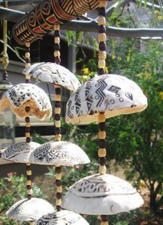 Porcelain Tribal African Wind Chimes with Hand by EspritMystique, $55.00
