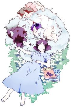 Ookami and Yuki and Ame as Wolfs and Hana as a happy family from Wolf Children Wolf Children Ame, Wolf Kids, Film Manga, Manga Anime, Totoro, Manga Romance, Lobo Anime, Japanese Animated Movies, The Ancient Magus Bride
