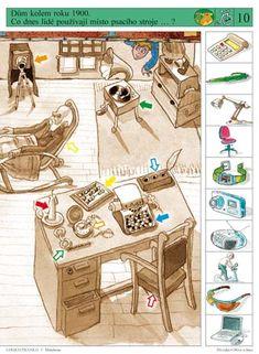 Soubor Logico Piccolo - Prvouka dávná minulost, zařazení obrázků do správné doby, tabulky vývoje Brain Activities, Math For Kids, Speech Therapy, Playroom, Teacher, Children, Worksheets, Album, Games