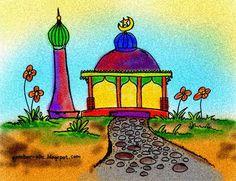 Contoh Gambar Mewarnai Masjid