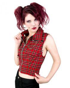 tartan ladies vest   punk vest tartan 68 % baumwolle 32 % polyester black pistol punk vest ...