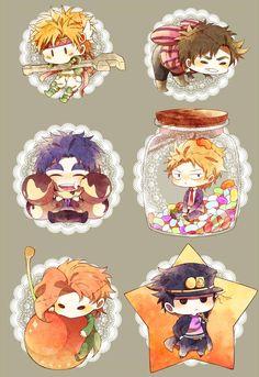 Caesar, Joseph, Jonathan, Dio, Kakyoin & Jotaro