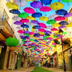 Walk under the umbrella street, Águeda in Aveiro, Portugal