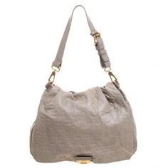 Marc By Marc Jacobs Beige Dreamy Logo Leather Puckered Mouse Hobo