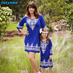 >> Click to Buy << Cutyome 2017 Brand New Mother and Daughter Matching Clothes 1/2 Ruffles Sleeve Floral Printed Mom and Me Dresses Family Outfits #Affiliate