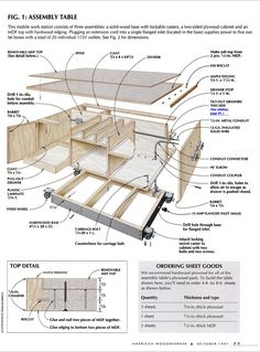 11 Assembly Table Plans: Putting it All Together with Glue Up Tables, Torsion Boxes, Clamp Stations and More! Home Workshop, Garage Workshop, Workshop Ideas, Shop Storage, Shop Organization, Woodworking Jigs, Woodworking Projects, Carpentry, Assembly Table