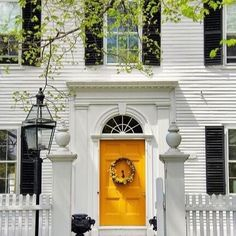Ideas Colonial Front Door Ideas Exterior Paint Colors For 2019 Colonial Front Door, Exterior Front Doors, Dutch Colonial, Yellow Front Doors, Front Door Colors, Exterior Paint Colors For House, Paint Colors For Home, Colonial House Exteriors, Black Shutters