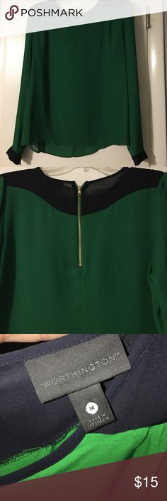 Long sleeve green and black top with gold zipper Long sleeve green and black top with gold zipper. Size medium. Never worn, no tags. Green and black with gold zipper on back. Worthington Tops Blouses