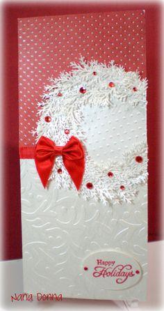 Christmas card with wreath, using Martha Stewart branch punch.