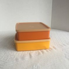 Vintage Tupperware Yellow and Orange Plastic Lidded Containers / Vintage Kitchen Refrigerator Storage / Tupperware Sandwich Keepers by vintagepoetic on Etsy