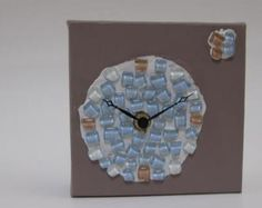 Elements Collection, a working clock mounted on canvas and embellished with glass. Harmony Design, Handmade Clocks, Studio, Canvas, Glass, Crafts, Painting, Collection, Home Decor