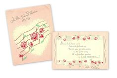 Musical notes for Old Fashioned Valentine card greeting, Feb. 1945