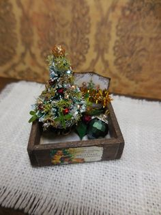 Ooak miniature dollhouse Christmas tray with by Mosswayminiatures