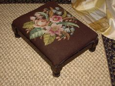 ANTIQUE FRENCH PETIT POINT NEEDLEPOINT FOOT STOOL | eBay Cross Stitch Embroidery, Hand Embroidery, Foot Stools, Coming Up Roses, Fabric Rug, Needlepoint Pillows, Miniature Crafts, Ottomans, So Little Time