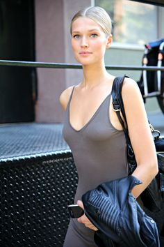 MODELS JAM: Toni Garrn exits Ralph Lauren, New York, September 2012