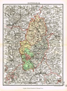 "Stanford's G.B. County Map - ""NOTTINGHAM"" - Chromo - 1885"